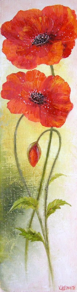 Poppy Rings original painting by Viktorija Labinaitė. For living room