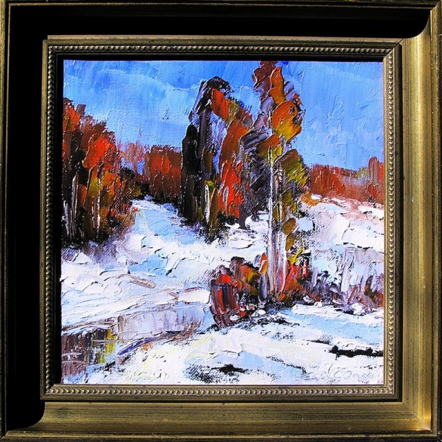 Landscape of Winter original painting by Leonardas Černiauskas. Landscapes