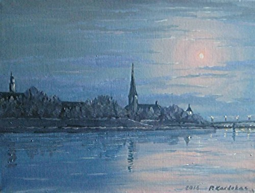 Kaunas at Night original painting by Petras Kardokas. Landscapes