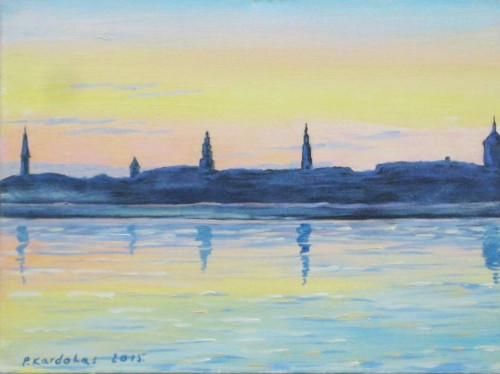 Evening in Kaunas original painting by Petras Kardokas. Landscapes