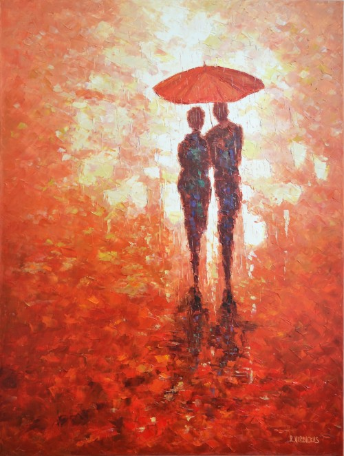 Together in the Rain original painting by Rimantas Virbickas. Oil painting