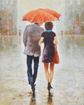 Although it Rains original painting by Rimantas Virbickas. Paintings With People
