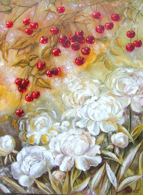 With White Peonies original painting by Viktorija Labinaitė. For the kitchen