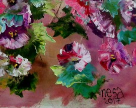 Malvas 11 original painting by Inesa Škeliova. Flowers