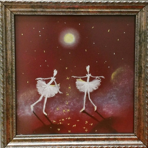 Dance in the Moonlight original painting by Rima Sadauskienė. Miniature