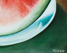 Slice of Watermelon original painting by Vincas Bareikis. For the kitchen