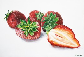 Strawberries 2 original painting by Vincas Bareikis. For the kitchen