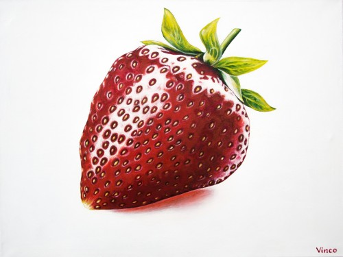 Strawberry original painting by Vincas Bareikis. For the kitchen