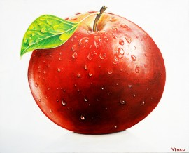 Apple original painting by Vincas Bareikis. For the kitchen