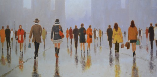 Town and Townspeople original painting by Rimantas Virbickas. Urbanistic - Cityscape