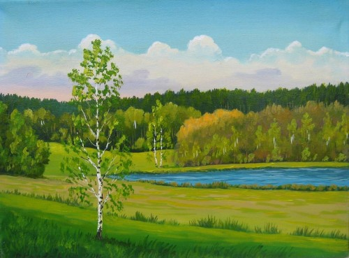 Lake near Lazdijai original painting by Petras Kardokas. 250 EUR or less
