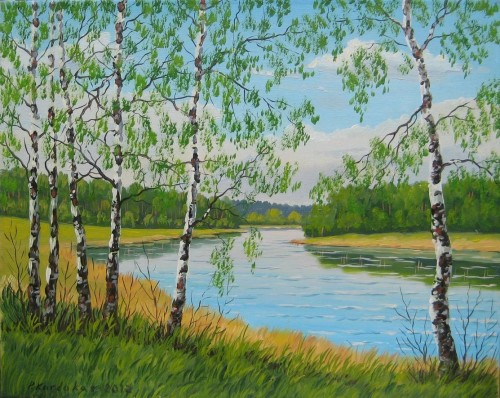 Nemunas River Near Alytus original painting by Petras Kardokas. 250 EUR or less