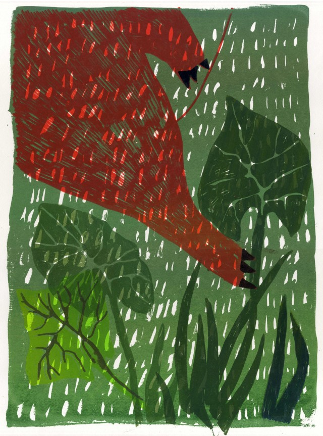 Came to Pick a Leaf original painting by Lina Itagaki. Easter collection