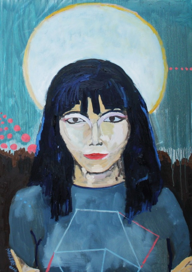 Bjork original painting by Andrius Makarevičius. Paintings With People