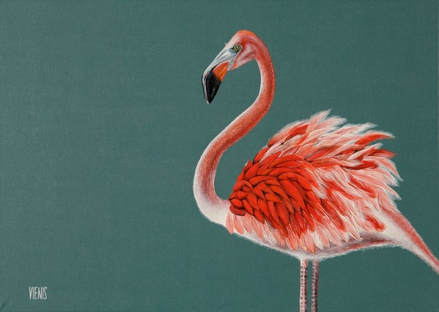 Phoenicopterus original painting by Laima Žeimienė-Vienis. Animalistic Paintings