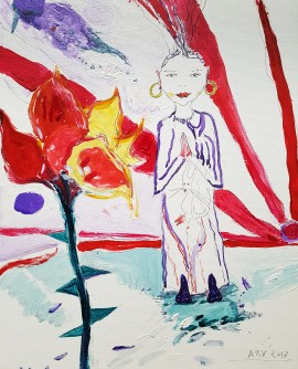 Girl with Flower original painting by Arvydas Martinaitis. 250 EUR or less