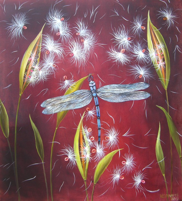 Dragonfly original painting by Viktorija Labinaitė. Animalistic Paintings