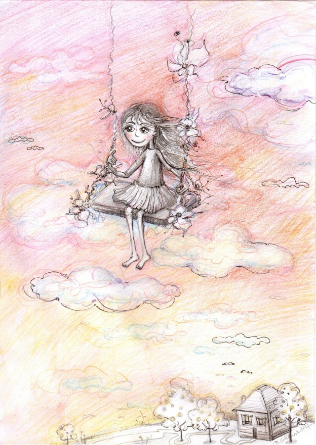 Above the Clouds original painting by Marija Giliova. For children room