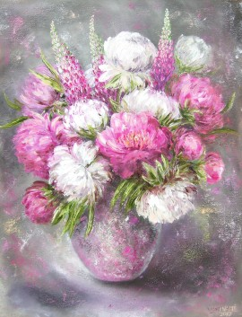 Peonies and Lupines