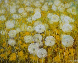 Fluffy Field original painting by Danutė Virbickienė. 250 EUR or less