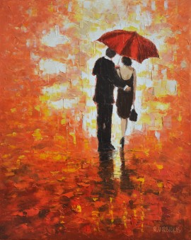 Summer Rain original painting by Rimantas Virbickas. 250 EUR or less