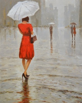 Rainy Summer original painting by Rimantas Virbickas. Paintings With People