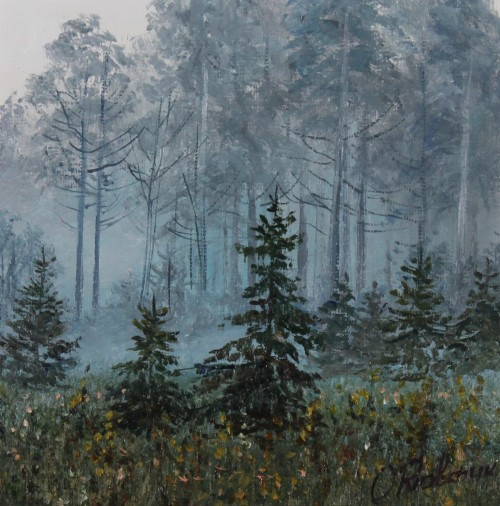 In The Fog original painting by Oleg Riabčuk. 15x15 cm miniatures