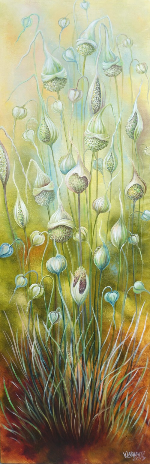 Garlic Party original painting by Viktorija Labinaitė. For the kitchen