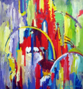 Abstraction Of The Architectural Details original painting by Justinas Prakapas. Acrylic painting