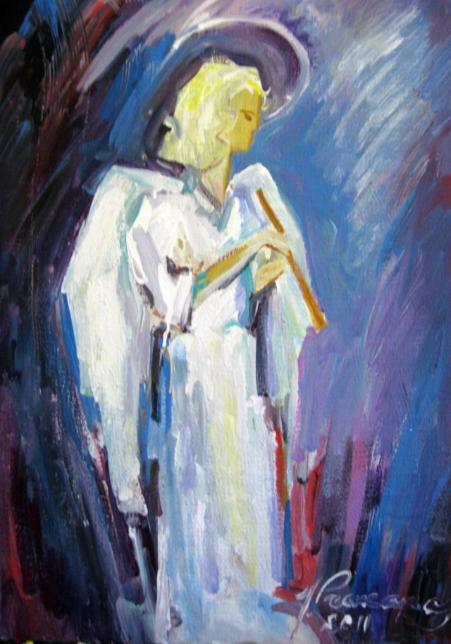 Angel With A Pipe original painting by Justinas Prakapas. Oil painting