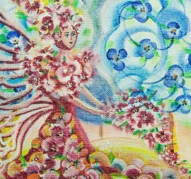 Flower Angel original painting by Giedrė Kanapeckaitė. For children room