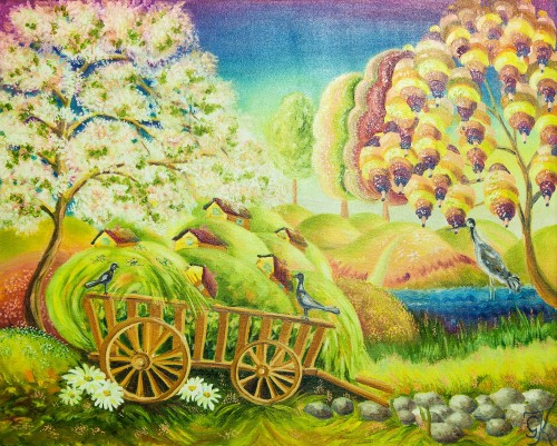Spring works original painting by Giedrė Kanapeckaitė. For children room