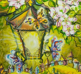 Spring garden original painting by Giedrė Kanapeckaitė. For children room