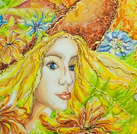 Woman original painting by Giedrė Kanapeckaitė. For children room