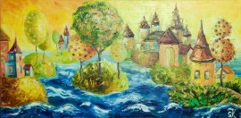 Floating City original painting by Giedrė Kanapeckaitė. For children room