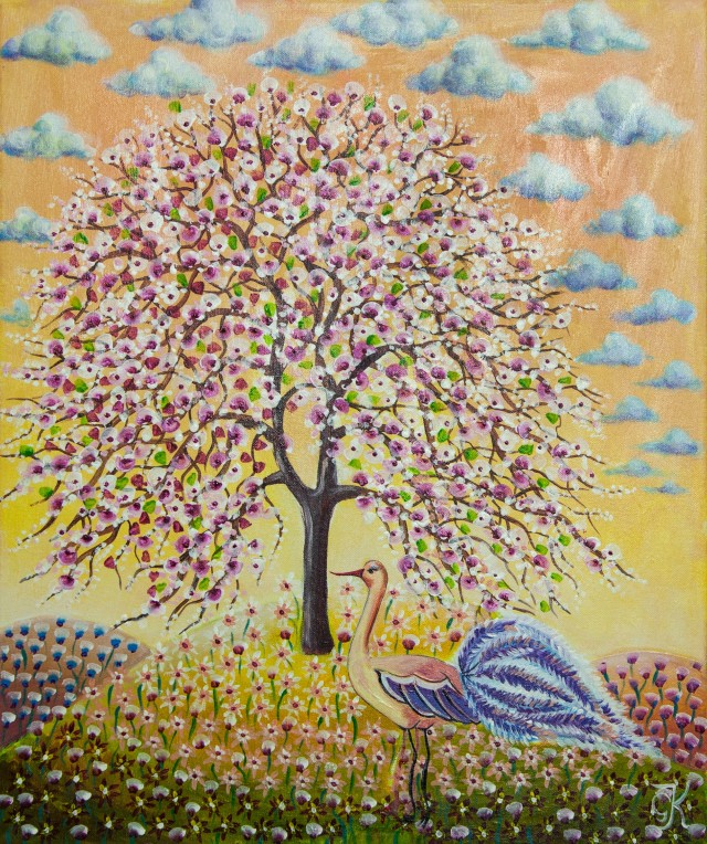 Apple Tree Blooming original painting by Giedrė Kanapeckaitė. For children room