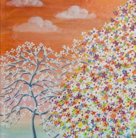 Tree Blooming original painting by Giedrė Kanapeckaitė. For children room
