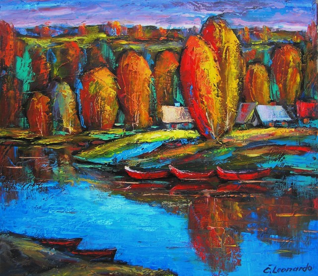 Autumn by the Lake original painting by Leonardas Černiauskas. Oil painting