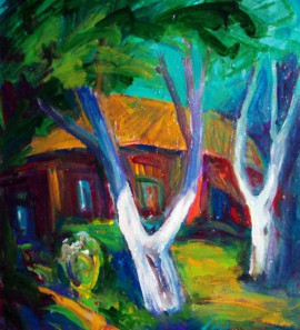 Old Trees original painting by Justinas Prakapas. Acrylic painting