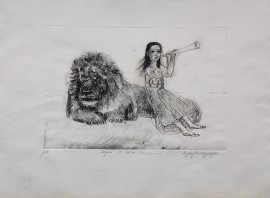 Lion and a Girl Looking After Eachother