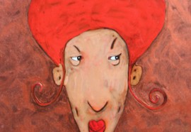 Red Head original painting by Rolana Čečkauskaitė. Oil painting