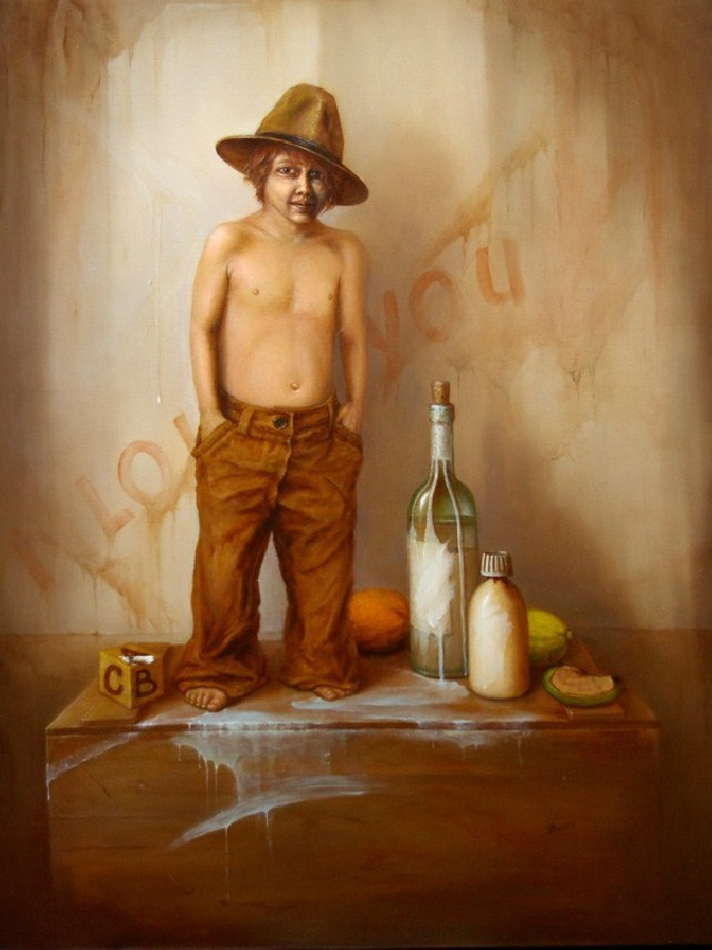 Still Life With Boy original painting by Vaidas Bakutis. Oil painting