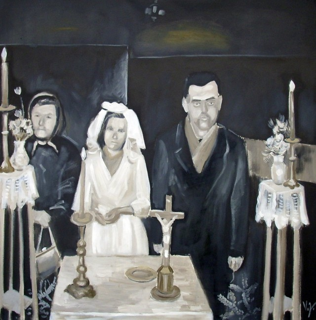 Soviet Wedding original painting by Vidmantas Jažauskas. Oil painting