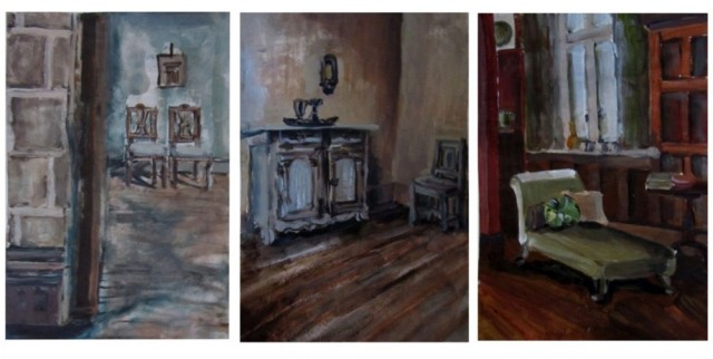 Interiors I. Triptych original painting by Mantė Kalvelytė. Other technique