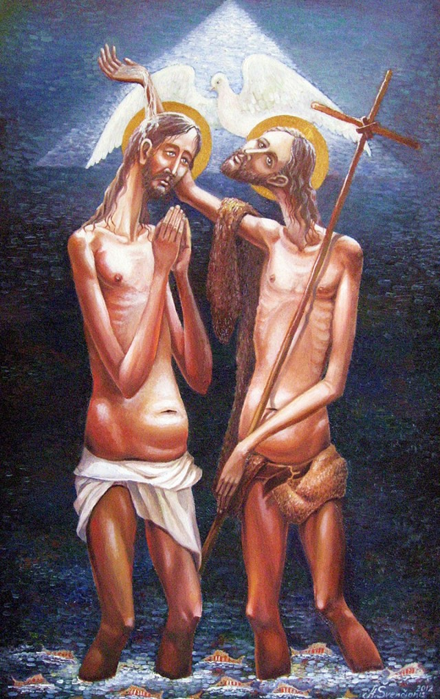 John The Baptist original painting by Arnoldas Švenčionis. Sacral