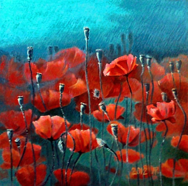 Poppies original painting by Aloyzas Pacevičius. Oil painting