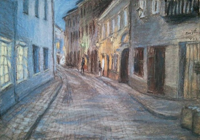 Vilnius. Stikliu Street Or The Evening Came