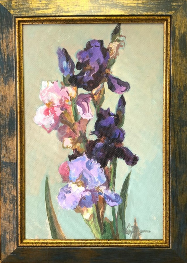 Irises in a Light Background