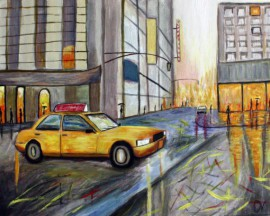 City ​​Rhythms original painting by Dalius Virbickas. Acrylic painting