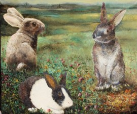 Three Rabbits In Meadow